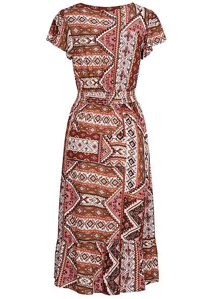 ONLY Damen V-Neck Midi Viskose Kleid Azteken Print roasted russet rot weiss
