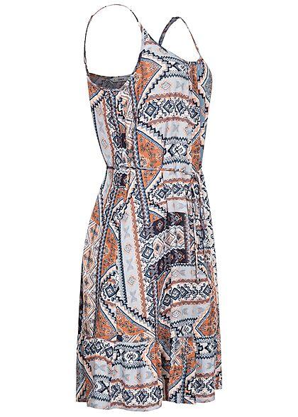 ONLY Damen Viskose Mini Sommer Kleid inkl. Bindegürtel Azteken Print faded denim blau