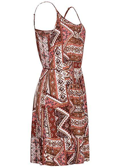 ONLY Damen Viskose Mini Sommer Kleid inkl. Bindegürtel Azteken Print roasted rot