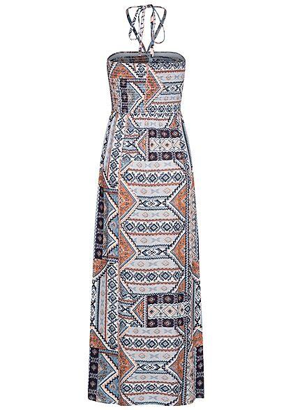 ONLY Damen Viskose Maxi Bandeau Kleid Azteken Print Bindedetail oben faded denim
