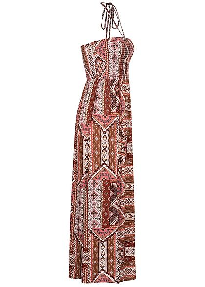 ONLY Damen Viskose Maxi Bandeau Kleid Azteken Print Bindedetail oben roasted rot