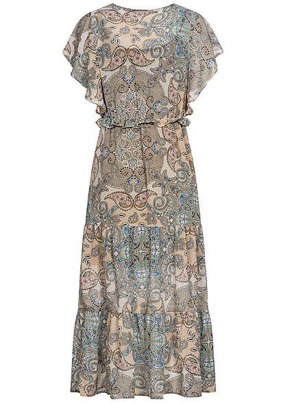 ONLY Damen V-Neck Midi Kleid mit Frilldetails Paisley Print inkl. Unterkleid kalamata oliv