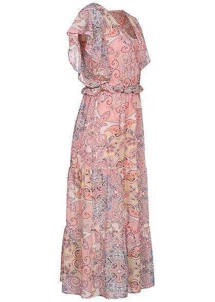 ONLY Damen V-Neck Midi Kleid mit Frilldetails Paisley Print inkl. Unterkleid coral rosa