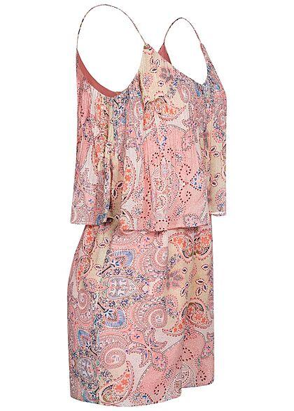 ONLY Damen V-Neck Strap Playsuit 2-lagig Paisley Print sugar coral rosa