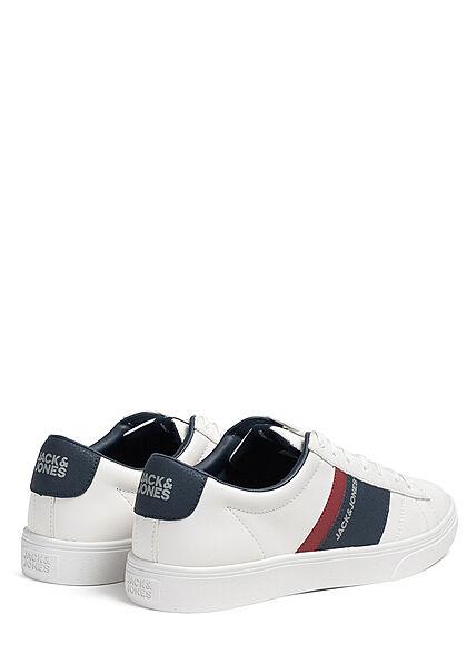 Jack and Jones Herren Schuh Colorblock Kunstleder Sneaker bright weiss navy bordeaux