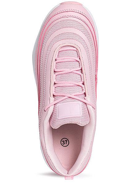 Seventyseven Lifestyle Damen Schuh Materialmix Sneaker zum schnüren rosa pink