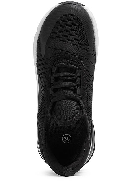 Seventyseven Lifestyle Damen Schuh 2-Tone Mesh Sneaker zum schnüren schwarz weiss