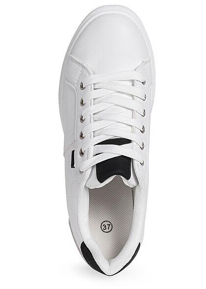 Seventyseven Lifestyle Damen Schuh Kunstleder Sneaker im Snake Design weiss schwarz