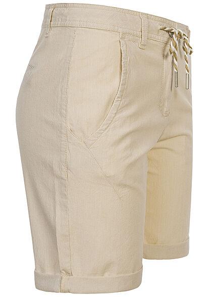 Tom Tailor Damen Bermuda Capri Hose 4-Pockets Tunnelzug Streifen beige