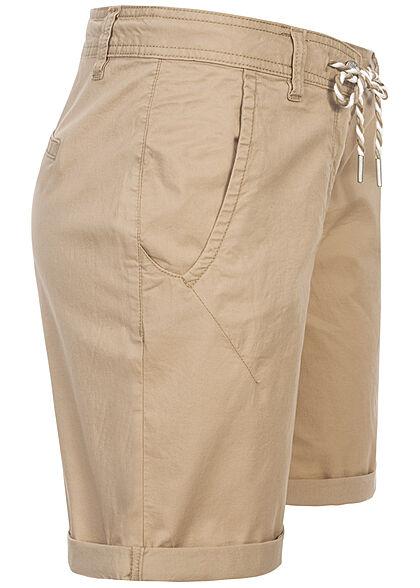 Tom Tailor Damen Bermuda Capri Hose 4-Pockets Tunnelzug desert linen beige