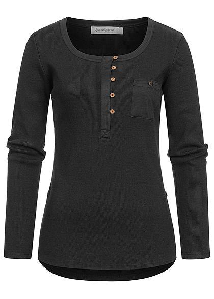 Seventyseven Lifestyle Damen Turn-Up Ribbed Shirt Brustt. Knopfleiste schwarz