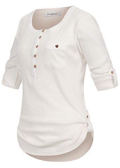 Seventyseven Lifestyle Damen Turn-Up Ribbed Shirt Brustt. Knopfleiste weiss