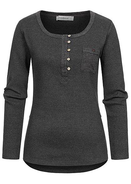 Seventyseven Lifestyle Damen Turn-Up Ribbed Shirt Brustt. Knopfleiste dunkel grau mel.