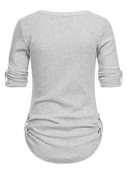 Seventyseven Lifestyle Damen Turn-Up Ribbed Shirt Brustt. Knopfleiste hellgrau melange