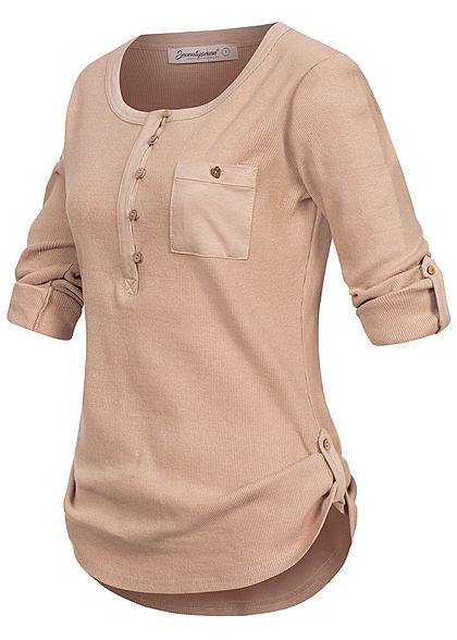 Seventyseven Lifestyle Damen Turn-Up Ribbed Shirt Brustt. Knopfleiste old rose