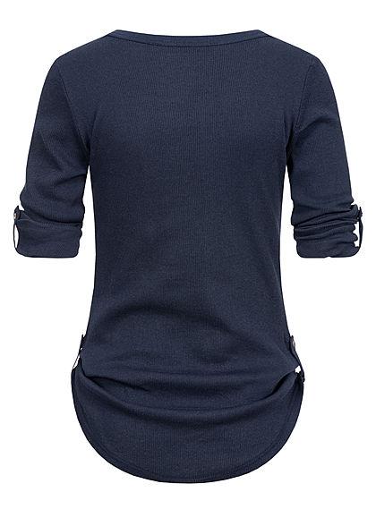 Seventyseven Lifestyle Damen Turn-Up Ribbed Shirt Brustt. Knopfleiste navy dunkel blau