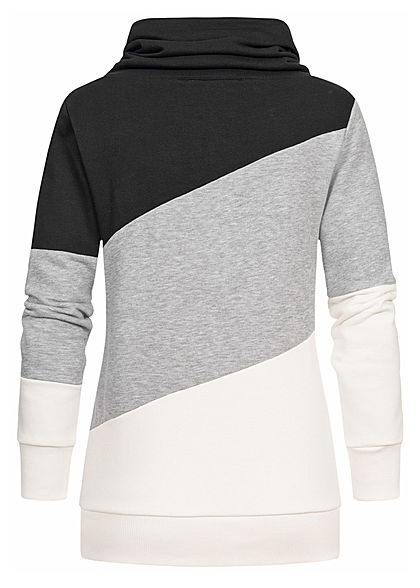Seventyseven Lifestyle Damen Colorblock High-Neck Sweater Patch schwarz