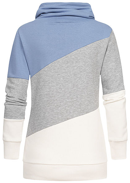 Seventyseven Lifestyle Damen Colorblock High-Neck Sweater Patch infinity blau