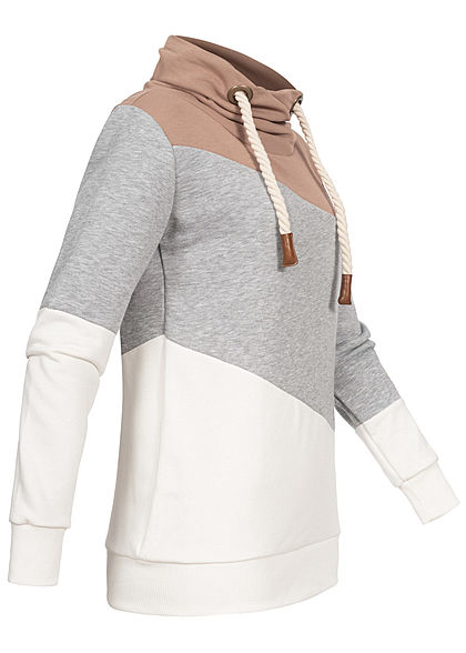 Seventyseven Lifestyle Damen Colorblock High-Neck Sweater Patch amphora taupe beige