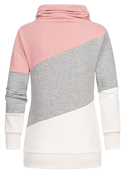 Seventyseven Lifestyle Damen Colorblock High-Neck Sweater Patch tan rosa