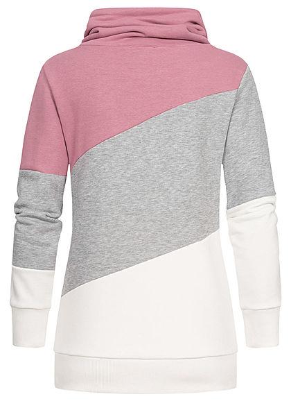 Seventyseven Lifestyle Damen Colorblock High-Neck Sweater Patch mauvewood lila
