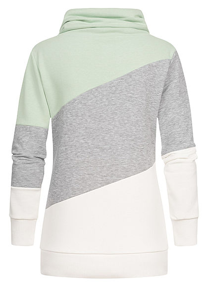 Seventyseven Lifestyle Damen Colorblock High-Neck Sweater Patch pastel grün