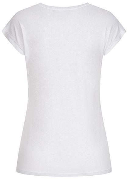 Seventyseven Lifestyle Damen T-Shirt Federnprint mit Paillettenfront weiss kupfer