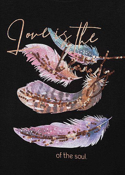 Seventyseven Lifestyle Damen T-Shirt Federnprint mit Paillettenfront schwarz kupfer