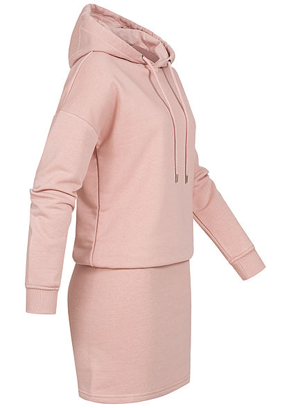 Seventyseven Lifestyle Damen Hoodie Sweat Pullover Kleid Kapuze misty rosa