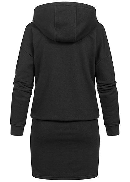 Seventyseven Lifestyle Damen Hoodie Sweat Pullover Kleid Kapuze schwarz