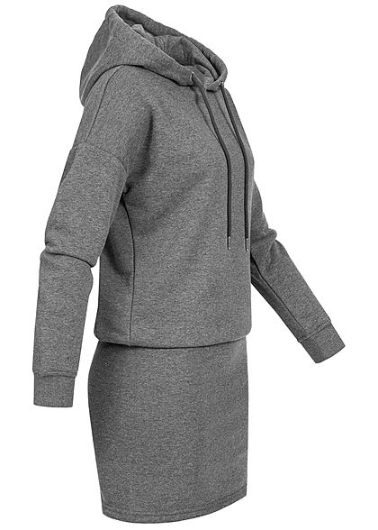 Seventyseven Lifestyle Damen Hoodie Sweat Pullover Kleid Kapuze dunkel grau melange