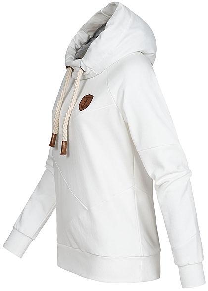 Seventyseven Lifestyle Damen Segment Hoodie mit Kapuze Logo Patch weiss