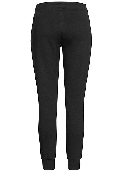 Seventyseven Lifestyle Damen Hose Sweatpants Streifen Muster schwarz weiss