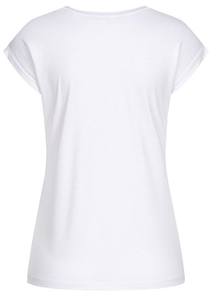Seventyseven Lifestyle Damen T-Shirt Feder Love Print Pailletten weiss kupfer