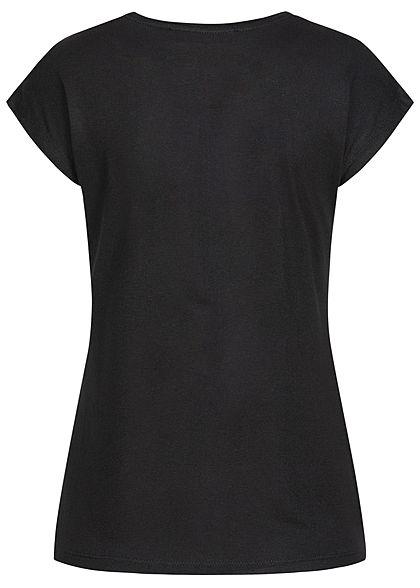 Seventyseven Lifestyle Damen T-Shirt Feder Love Print Pailletten schwarz kupfer