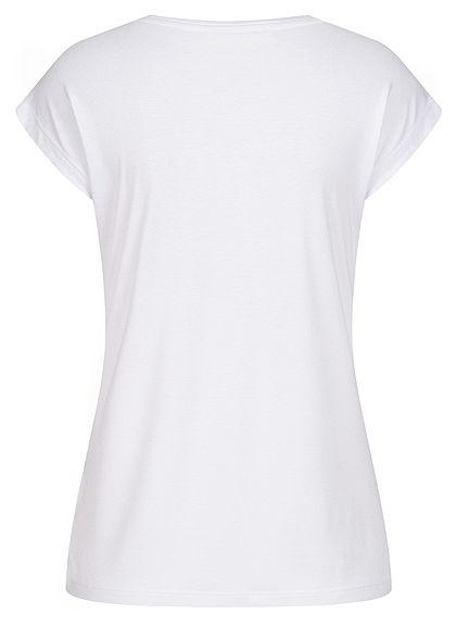Seventyseven Lifestyle Damen T-Shirt Everyday Feder Print Paillettenfront weiss