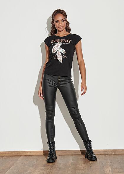 Seventyseven Lifestyle Damen T-Shirt Everyday Feder Print Paillettenfront schwarz