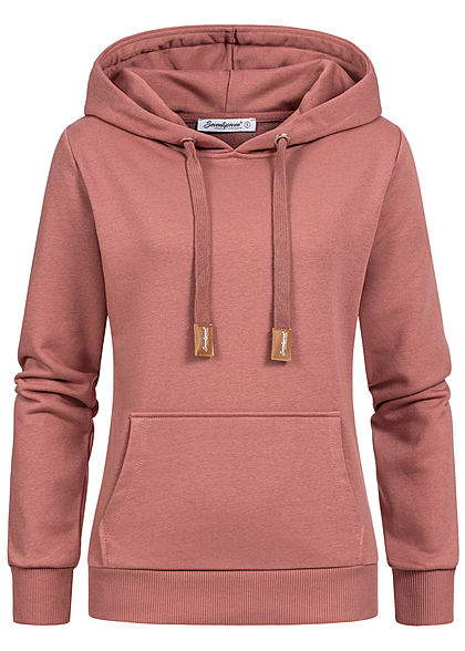 Seventyseven Lifestyle Damen Basic Hoodie Kapuze old rose - Art.-Nr.: 21044047