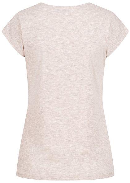 Seventyseven Lifestyle Damen T-Shirt Majestic Print oatmeal beige melange