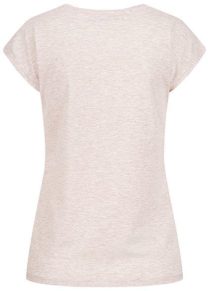 Seventyseven Lifestyle Damen T-Shirt Pailletten Print What you do oatmeal beige melange