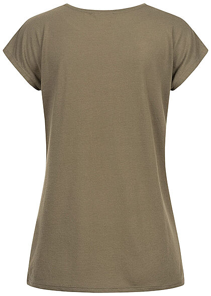 Seventyseven Lifestyle Damen T-Shirt mit Paillettenfront Federprint khaki grün gold