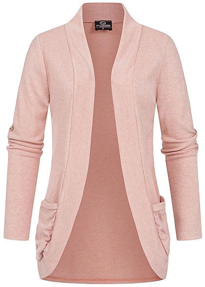 Styleboom Fashion Damen Turn-Up Cardigan 2-Pockets old rosa