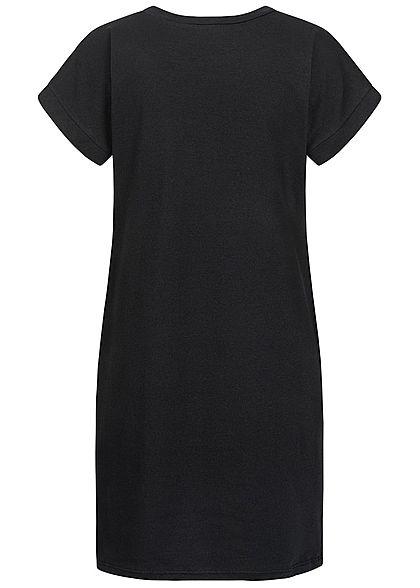 Styleboom Fashion Damen T-Shirt Kleid Women Cup Print schwarz