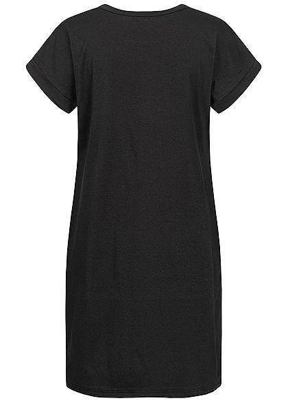 Styleboom Fashion Damen T-Shirt Kleid Women Kiss Print schwarz