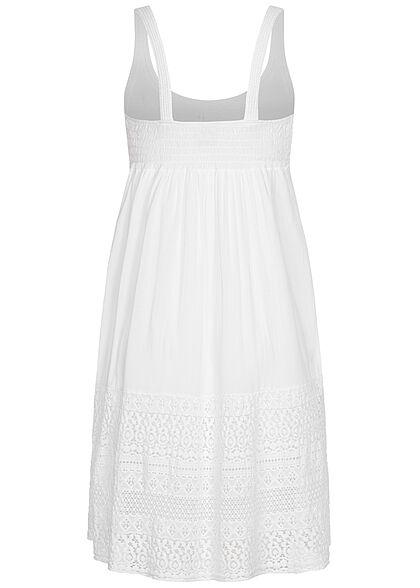 Styleboom Fashion Damen Kleid in Häkeloptik mit Lochmuster weiss