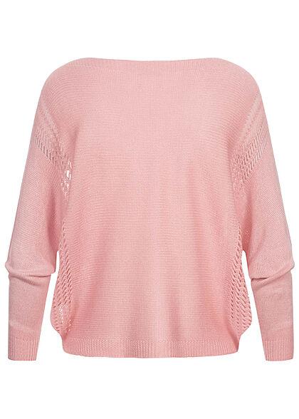 Styleboom Fashion Damen U-Boot Strickpullover Lochmuster pink