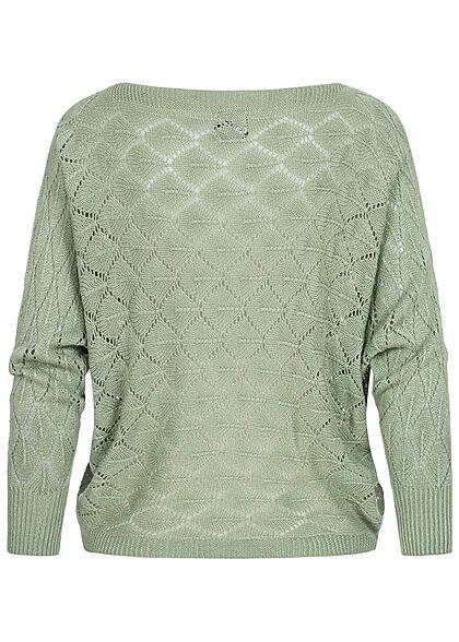 Styleboom Fashion Damen U-Boot Strickpullover Rauten Muster grün