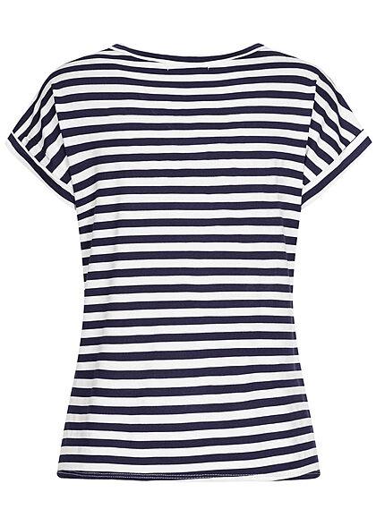 Styleboom Fashion Damen V-Neck T-Shirt Ärmelumschlag Streifen Muster weiss navy