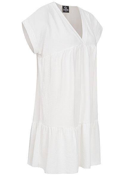 Styleboom Fashion Damen V-Neck Stufen Kleid weiss