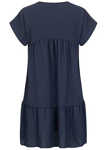 Styleboom Fashion Damen V-Neck Stufen Kleid navy blau